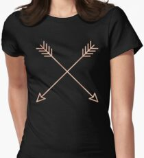 Rose Gold Arrows 2.0 - Adventure Wanderlust Pink Compass Design tshirt tapestry pillow rosegold  Womens Fitted T-Shirt