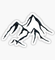 MOUNTAINS - Black and White Vintage Rustic Adventure Wanderlust Art Sticker