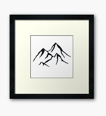 MOUNTAINS - Black and White Vintage Rustic Adventure Wanderlust Art Framed Print