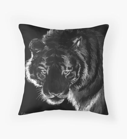 Tigre B&N, featured in Back in Black  Throw Pillow