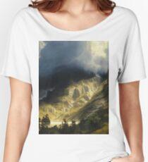 Albert Bierstadt - A Storm In The Rocky Mountains Mt Rosalie Women's Relaxed Fit T-Shirt