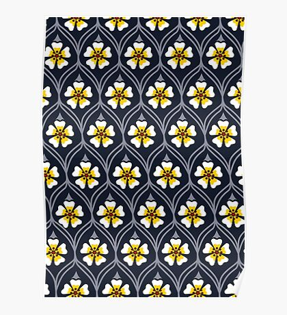 abstract white flower pattern Poster