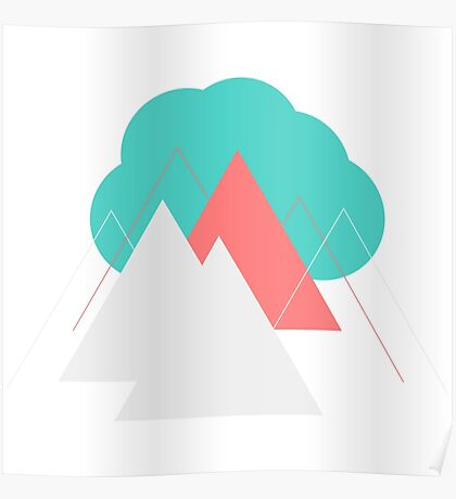 Geometric Landscape, Cloud over Mountains  Poster