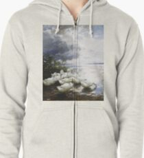 Alexander Max Koester - Ducks At The Lake S Edge Zipped Hoodie