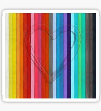 Outline of a heart shape on color pastels Sticker