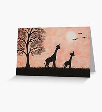 Giraffe Silhouette: Mothers Day Giraffes Greeting Card