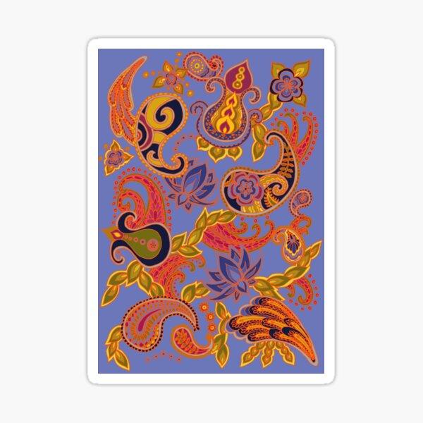 Paisley of '71 - orange on blue Sticker