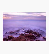 Mystic Eerie Purple Ocean Waves Long Exposure Photographic Print