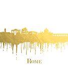 Rom Skyline in metallischem Gold von UrsusFineArt