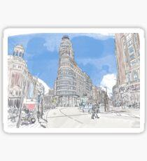 Plaza de Callao Madrid watercolor Sticker