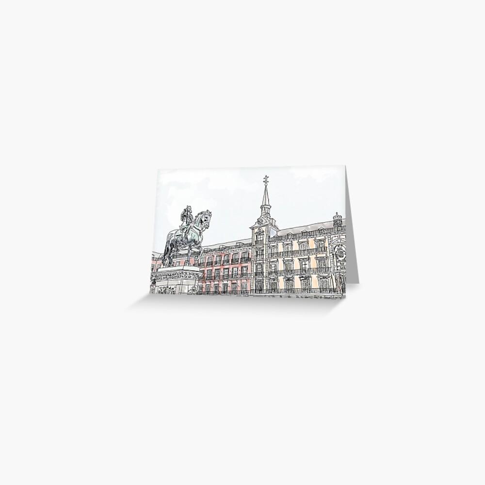 Plaza Mayor Madrid Aquarell Grußkarte