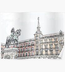 Plaza Mayor Madrid watercolor Poster