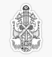norse sword and dragons Sticker