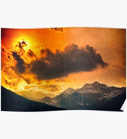 Sunset over Italian Alps Poster