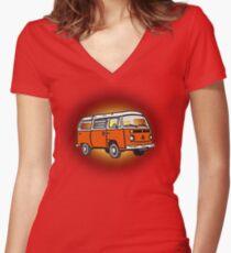 Bay Window Campervan Sunburst Women's Fitted V-Neck T-Shirt