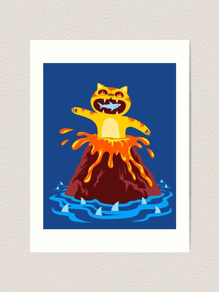 Alternate view of Volcano Cat Art Print