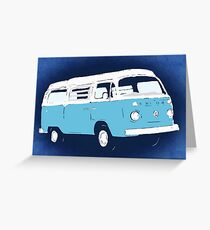 Bay Camper Blue White New Version Greeting Card