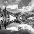 Aspen Colorado Maroon Bells Black and White Panorama by Gregory Ballos