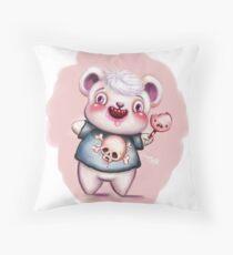 Creepy Candy Bear & Screaming Lollipop Throw Pillow