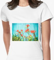 Tiger Lilly and Rustic Blue Wood Womens Fitted T-Shirt
