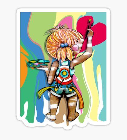 Art Chick Paint Shirt Sticker