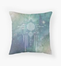 FLOWER OF LIFE - Turquoise Teal Blue Magical Tribal Galaxy Stars Symbol Throw Pillow