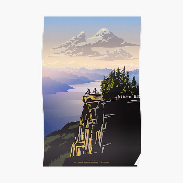 Beautiful British Columbia retro travel poster Poster