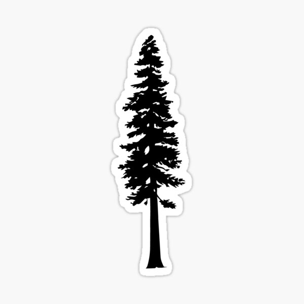 Redwood Tree Silhouette Sticker