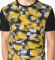 Trendy Modern Yellow Black White Mosaic Pattern Graphic T-Shirt