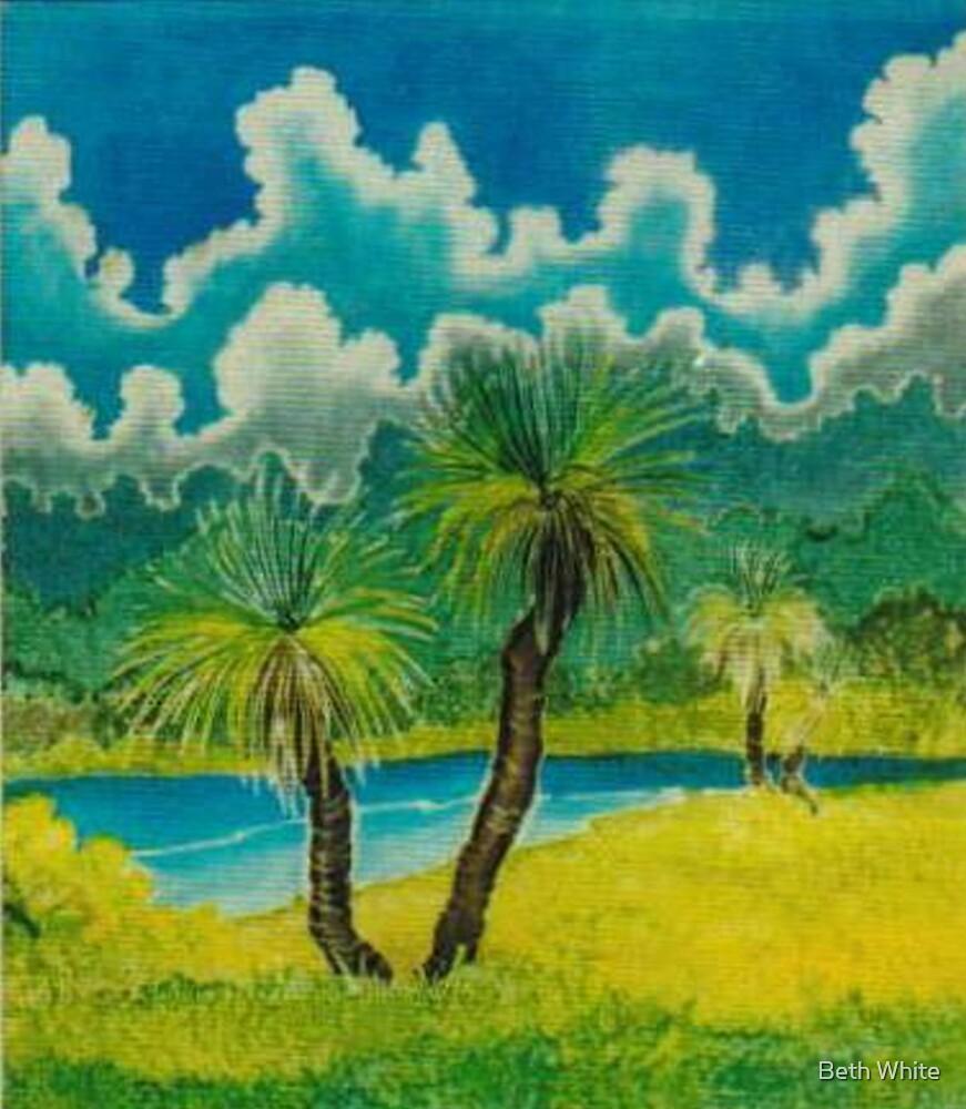 """Australian Grass Tree"" ( on Silk) by Beth White"