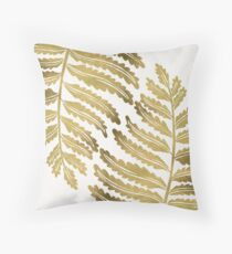 Golden Fern Leaf Throw Pillow