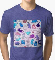 Space Cats - Galaxy Stars Pink Blue Purple Star Kitty Pattern Tri-blend T-Shirt