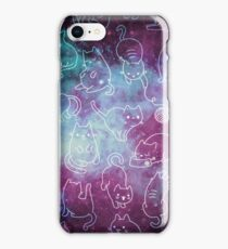 Space Cats - Galaxy Stars Blue Turquoise Purple Star Kitty Pattern iPhone Case/Skin