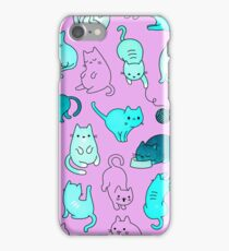 Space Cats - Turquoise Blue Green Pink Kitty Pattern Teal Blue iphone case iPhone Case/Skin