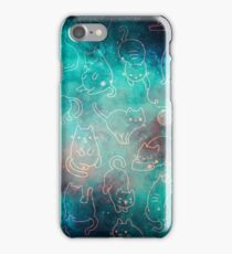 Space Cats - Galaxy Stars Turquoise Blue Green Star Kitty Pattern iPhone Case/Skin