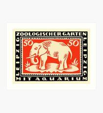 1919 Germany Leipzig Zoo Notgeld Banknote Art Print