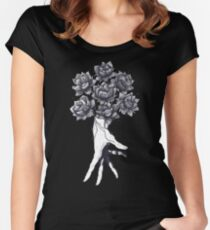 Hand with lotuses on black Women's Fitted Scoop T-Shirt