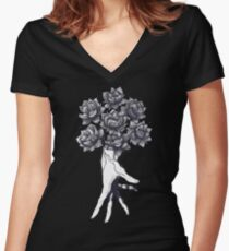 Hand with lotuses on black Women's Fitted V-Neck T-Shirt