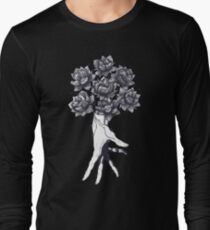 Hand with lotuses on black Long Sleeve T-Shirt