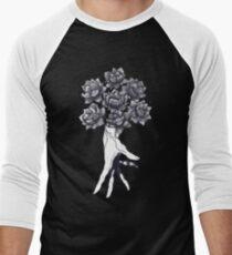 Camiseta ¾ estilo béisbol Hand with lotuses on black