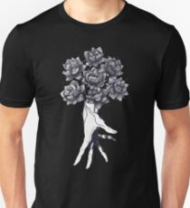 Hand with lotuses on black Unisex T-Shirt