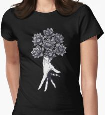 Hand with lotuses on black Women's Fitted T-Shirt