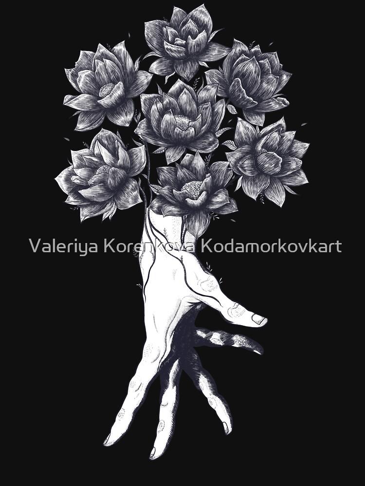 Hand with lotuses on black de kodamorkovkart