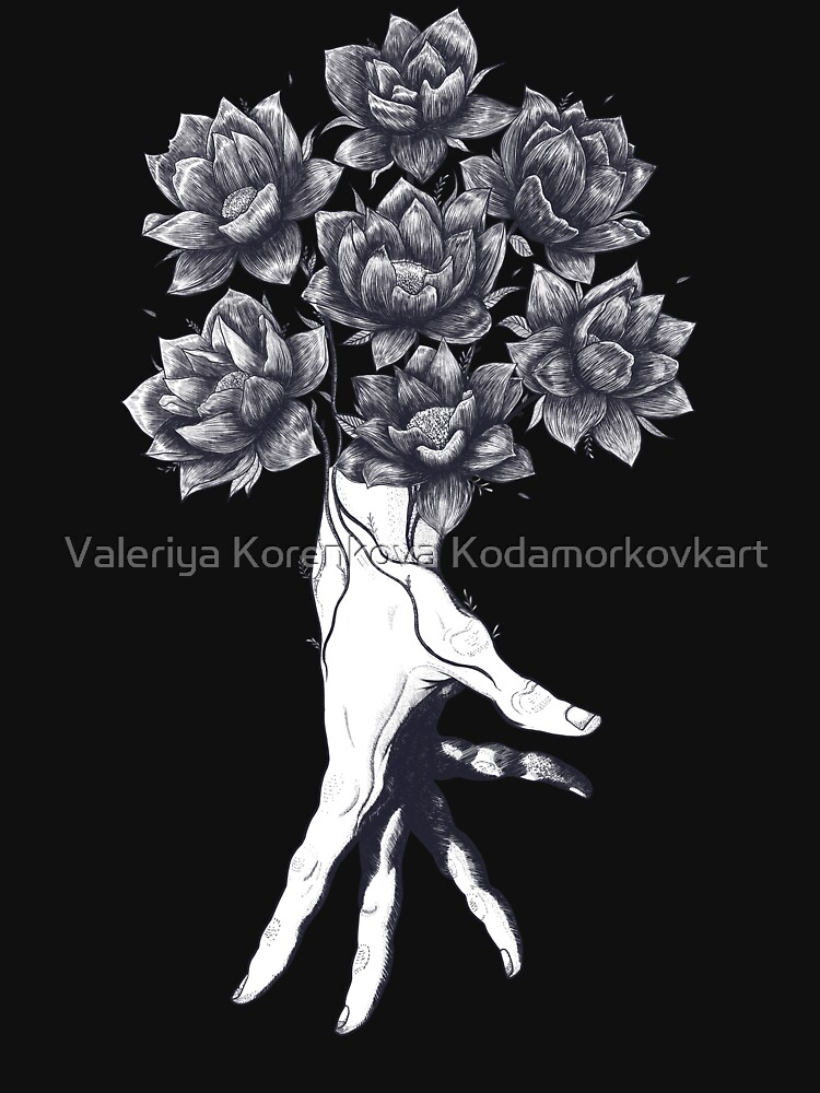 Hand with lotuses on black by kodamorkovkart