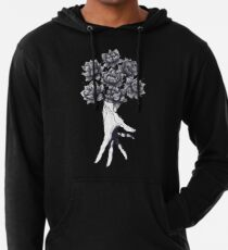 Hand with lotuses on black Leichter Hoodie