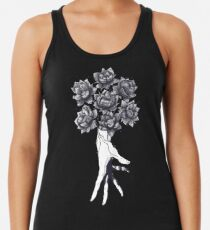 Hand with lotuses on black Women's Tank Top