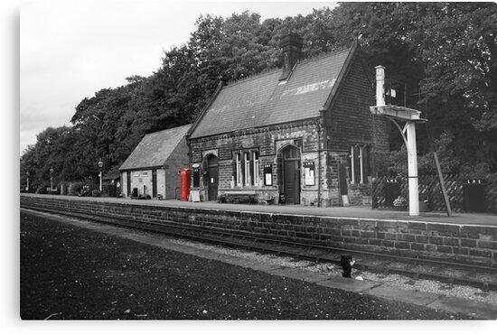 Peak Railway station darley dale red telephone box  by Dave Warren
