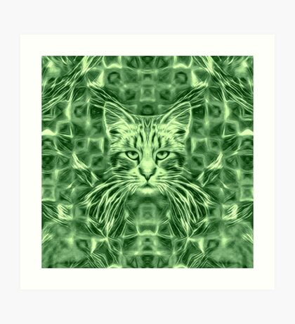 Cat in green #Art Art Print