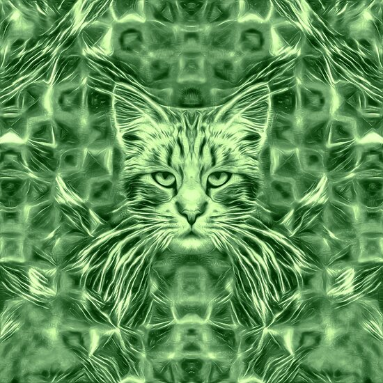 Cat in green #Art