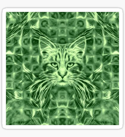 Cat in green #Art Sticker